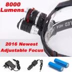Отрегулируйте Фокус Фары 8000 Люмен СВЕТОДИОДНЫЕ Фары фара CREE XM-L 3 * T6 Фары Свет Лампы   2X18650 аккумулятор   AC/Автомобильное Зарядное Устройство