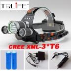 8000LM СВЕТОДИОДНЫЕ Фары 3x CREE XML T6 4 Режимов Аккумуляторная Фара Фара Прожектор Для Охоты   Зарядное Устройство (США ЕС AU)   2 ШТ. 18650