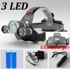 USB Фары 6000Lm CREE XML T6   R5 СВЕТОДИОДНЫЕ Фары Свет Лампы Факел Отдых На Природе Рыбалка   2*6800mAh18650 аккумулятор   Зарядное ЕС/США зарядное устройство