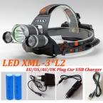 Новые Фары 9000 Люмен 3x CREE XM-L2 СВЕТОДИОД Высокой Мощности фара Свет Лампы Аккумулятор   2*18650 батарея   AC/USB/Автомобиль зарядное устройство