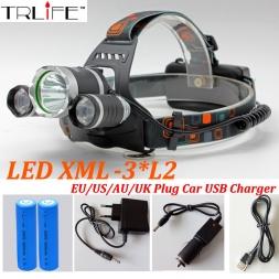 Фар 9000 Люмен 3x CREE XM-L2 LED Высокой Мощности Фары Головного света Лампы   2*18650 Аккумулятор   Зарядное Устройство БЕСПЛАТНЫЙ ШИ