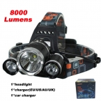 8000 Люмен СВЕТОДИОДНЫЕ Фары Cree XML T6 СИД перезаряжаемые CREE СВЕТОДИОДНЫЕ Фары свет   ЕС/США Зарядное Устройство   Автомобильное зарядное устройство