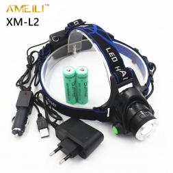 3800LM Зум XML-L2 LED Глава Лампы Факел фонарик свет лампы   2x18650 Аккумулятор   ЕС/США АС/ВЕЛИКОБРИТАНИЯ Автомобильное зарядное устройство USB