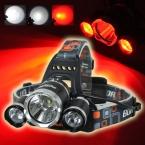 5000Lm T6   2xR5 Красный СВЕТОДИОДНЫЕ Фары Фары Портативный Lanterna Глава Лампа Факела Для Охоты Отдых На Природе