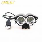6000lm 2 * XM-L T6 LED 5 В Передняя Велосипед Велоспорт Лампы Велосипед свет USB 4 Режим головной фонарь освещение