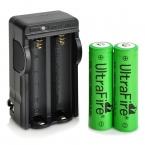 UltraFire 2x18650 Батареи 3.7 В 2600 мАч с США Plug 18650 Зарядное Устройство для Фонарика Свободная Перевозка Груза
