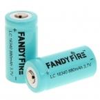 (2 Шт./лот) Fandyfire LC 16340 3.7 В 880 мАч Батареи Li-Ion 16340 Литиевая Батарея