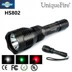Красочные СВЕТОДИОДНЫЙ Фонарик Uniquefire HS-802 XRE Зеленый/Красный Свет Охота Для 18650 Аккумуляторная Батарея Для Кемпинга