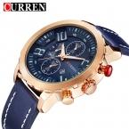 Relojes Hombre CURREN мужские Кварцевые Случайные Спорт Золотые Часы Кожа синий Мужчины Часы  Военный Мужские Наручные Часы Для человек