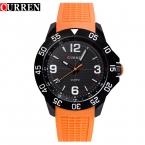 Часы роскошные Кварцевые часы мужчины часы Женщины Любовник вахта горячие CURREN резина наручные часы человек