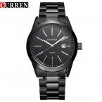 Curren мужчины военный спортивные часы кварцевые мода часы полный стальной ленты часы отображения даты стали Вольфрама титана черный