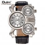 Мужские Часы Oulm Лучший Бренд Класса Люкс Военно Кварцевые часы 3 Маленьких Циферблата Кожаный Ремешок Мужской Наручные Часы Relojes Hombre
