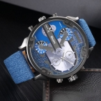 Модные Мужские Часы С Двойной Movt Цифры и Полоски Часов Маркс Кожаный Ремешок Кварцевые Мужчины Спортивные Часы Военные Часы Relogio