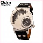 Мода Oulm Марка Мужчины Спортивные Часы Повседневная Аналоговый Кварцевые Часы Вскользь часы Кожа Военный Наручные Часы
