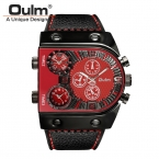 Oulm Марка Роскошные Мужчины Повседневная Кожаный Ремешок Кварцевые Часы Мужские Военные Наручные Часы Мужчины Спортивные Часы Relojes Hombre