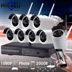 2-МЕГАПИКСЕЛЬНАЯ ВИДЕОНАБЛЮДЕНИЯ Система 1080 P 8-канальный HD Беспроводной NVR комплект 3 ТБ HDD открытый ИК Ночного Видения IP Wi-Fi Камера Система Видеонаблюдения Hiseeu