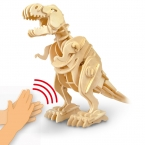 Прекрасный Детские Игрушки 3D Puzzle Динозавров Голосовое Управление Звуковой Эффект Деревянные Игрушки для 6