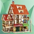 3D Деревянные Головоломки DIY Модель Детские Игрушки Франция Французский Стиль Coffee House Головоломки Деревянные 3D Головоломки Игрушки для Детей