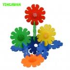 60 шт./упак. Пластиковые цветные Подсолнечника Building Blocks Наборы Наборы для Творчества малыша детский сад игрушки