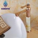 Кран Бассейна Вырос Золотой Одной Ручкой Ванная Комната Высокий Смеситель для раковины Кран CRT5288--22C