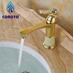 Кран Бассейна Золотой Одной Ручкой Ванная Комната Смеситель для раковины Кран CRT5288--11A