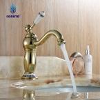 Кран Современная Ванная Комната Одной Ручкой Палуба Гора Кран, золотой Отделкой
