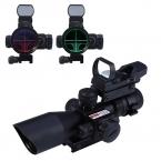 Охота 2.5-10X40 Тактический Оптика Прицел Red dot прицел/Зеленый Лазер Двойной Подсветкой Сфера Mil-dot 20 мм Железнодорожных крепление
