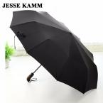 Мода черный полностью автоматическая коммерческий зонтик плюс размер 10 ветрозащитный зонт складной зонтик двойного