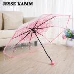 Мужской моды дамы Женский Дождь Передач компактный три складной японский четкие зонтики Женщины Мужчины Прозрачный пластик