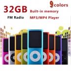 Тонкий 4-го поколения mp4 плеер 32 ГБ 9 Цветов для выбора воспроизведения Музыки 30 Часов fm радио видео плеер