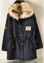 Elexs Новая Мода Зима Женщины Меха С Капюшоном Молния Украшенные Руно Внутри Военная Повседневная Пальто верхней одежды Женщин Парки