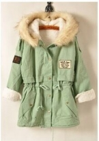 Elexs Новая Мода Зима Женщины Меха С Капюшоном Молния Украшенные Женщины Парки Военная Повседневная Зимнее Пальто верхняя одежда Женщин Парки