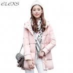 Elexs Vogue Хлопок Мягкие Длинные Теплые Зимние Пальто Женщин С Капюшоном TSP1810