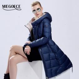 MIEGOFCE  пуховик зимний женский пальто пуховик новый бренд одежды Зимняя Одежда Модный Женский Пуховик Утолщение Парка куртка пальто женское парка средней длины длинные тонкие открытый теплое пальто