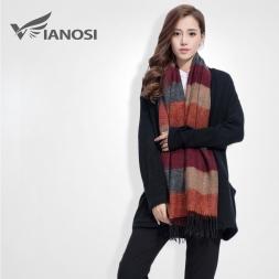[VIAONS]  известная марка Теплый шарф полосой Хиджаб кисточкой Зимние Desigual шарф Женщины шали и шарфы Мягкая Платки VS063