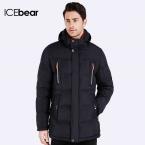 ICEbear  Био-Пух  Длина пуховика до середины бедра Теплый мужской стильный куртка Капюшон съёмный удобный Пальто для мужчин  16MD893