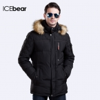 ICEbear  Длинный зимний пуховик Мех на съёмном капюшоне создаёт стильный вид Пальто для мужчин На рукаве карман Теплый Зимний Мужской Пуховик 15M927D
