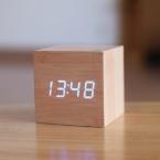 Куба СВЕТОДИОДНЫЙ цифровой Будильник Квадратные Деревянные зарядки Часы Термометр Температура Дата Дисплей часов reloj despertador будильник