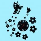 Творческий бабочка цветок 3D настенные часы акриловые зеркало отражающие наклейки часы современное искусство Livingroom домашнего декора бесплатная