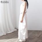 Summer Dress  Женщины Без Рукавов О Шея Sexy Dress Cotton белье Длинные Платья Макси Случайные Свободные Ретро Твердые Vestidos Плюс размер