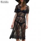 Мода  Лето Sexy Women Кружева See Through Коротким Рукавом Черный Пляж Dress Дамы Случайные Свободные Vestidos  Продажа