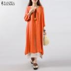ZANZEA Женщины Dress  Осень Старинные Хлопок Белье Dress Случайные Свободные Длинные Платья Плюс Размер Vestidos Плюс Размер S-5XL