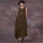 Продажа ZANZEA Мода Лето Dress  Женщин Случайные Свободные Хлопок Белье Dress Длинные Платья Твердые Vestidos Плюс Размер S-5XL