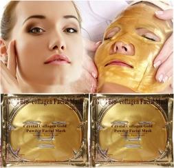 Золото Био-Коллаген Маска Для Лица Маска для лица Кристалл Порошка Золота Коллагена Маска Для Лица Увлажняющий антивозрастной 5 ШТ.  Новых прибыть