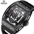 SKONE Пиратский Череп Мужская Мода Скелет Световой Кварцевые Часы с Силиконовый Ремешок Военные Наручные Часы relogio masculino