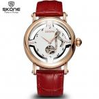 Сконе женский отмечает роуз автоматический self-ветер механические часы женщин ремень из натуральной кожи часы-скелетоны мода дамы