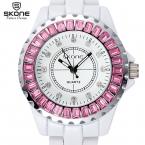 SKONE Марка Часы Женщины Роскошные Мода Повседневная Кварцевые Часы Керамические Леди Relojes Mujer Женщины Наручные Часы Платье Relógio Feminino