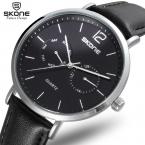 Skone  пират серии многофункциональный моды для мужчин смотреть 5 руки 24 часов случайные натуральная кожа часы мужчины reloje masculino