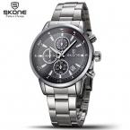 SKONE 4 Часов Циферблат Хронограф Дата Кварцевые Часы Мужчины Luxury Brand 316L Стальной Корпус Подлинной Моды Случайные Часы Мода Relogio