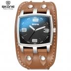 SKONE мужская Спортивные Кварцевые Часы Мужские Часы Лучший Бренд Роскошные Кожаные Наручные Часы Relógio Masculino Мужчины Уникальные Часы